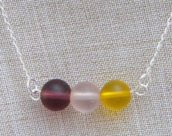 SALE 30% Necklace, Frosted Glass Rainbow Beads N266