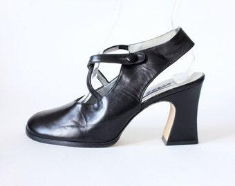 Vintage 1980s Jazz Black Leather Cross Strap Chunky Heels, size 8.5