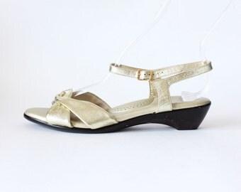 Vintage SAS Comfort Gold Metallic Mini Wedge Sandals - size 8N