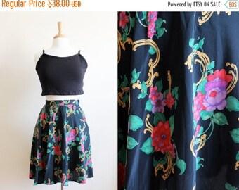 ON SALE Vintage Canvasbacks Black Floral Silk Skater Skirt