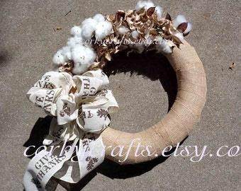 Cotton Burr wreath - Thanksgiving gifts, wedding pew rustic decor, autumn wedding, farmhouse decor