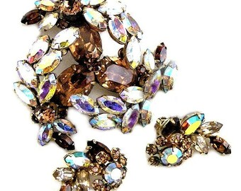Sherman Amber and Aurora Borealis Brooch and Earring Set Demi Parure