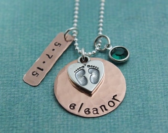 New Mommy in Copper with Sterling Silver Footprint Charm Necklace Personalized Hand Stamped Jewelry