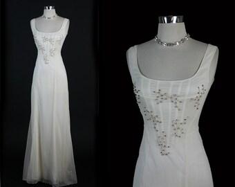 ALBERTA FERRETTI  Elegant Rhinestones Corset Silk Couture Formal Party Wedding Dress Gown XS