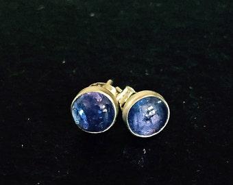 Tanzanite & Sterling Silver Stud Earrings, 6 mm