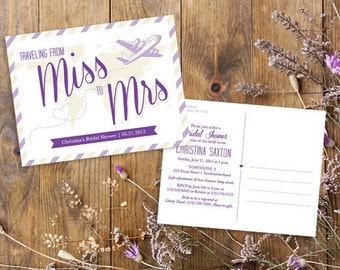 Miss to Mrs Travel Theme Bridal Shower Postcard Invitation. *Customize Colors* Print or Printable