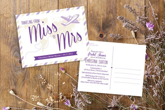 Postcard Wedding Shower Invitations: Miss To Mrs Travel Theme Bridal Shower Postcard Invitation