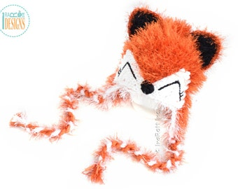 SALE - Furry Fox Hat READY to SHIP Handmade Crochet Hat for 5-10 Years