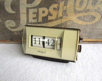 Mid Century Flip Clock Wind Up Bradley Japan Alarm Clock