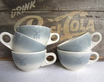 Vintage Grey Airbrush R Ranch Style Logo Homer Laughlin Restaurant Ware Cups