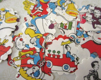 Scalloped Round Die Cuts Vintage Children's Book Dr Seuss Mulberry Street Book