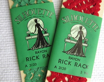 Vintage Silhoutte Rick Rack Trim Sewing Notions Red Green