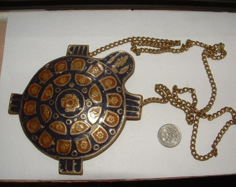 gigantic enameled brass turtle NECKLACE- VINTAGE 60s-to70s- super cute collectible