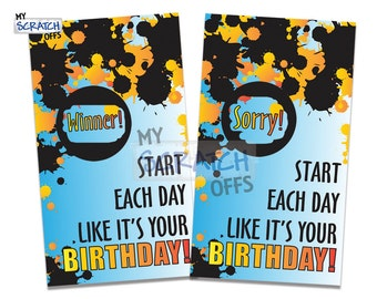 Happy Birthday Scratch Off Game Card Birthday Party Splatter Favor- Party Favor Scratch-Off