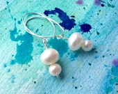 FREE SHIPPING Sterling Silver Creamy White Pearl Dangle Earrings