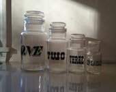 Italian Graphic Numbers Canisters Set of Four