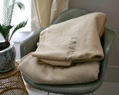 Vintage US Navy Wool Blanket Mid Century Camp Cream Cabin