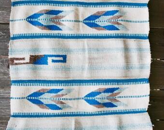 Vintage Southwestern Weaving Rug Geometric Wool Navajo Aztec Arrows Feathers