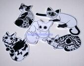 Cute Cats Sticker Set-  Cat Sticker, Vinyl Sticker, Cute Stickers, Cat Lover, Animal Stickers, Cat Lady Stickers