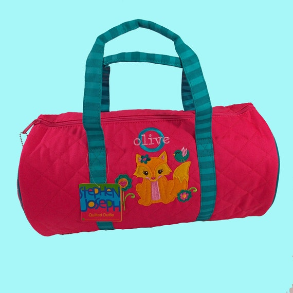 Child's Monogrammed Stephen Joseph Newest Style FOX Quilted Duffle Bag Personalized