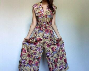 80s Vintage Womens Jumpsuit Yellow Floral Wide Leg Jumpsuit Pockets Women Sleeveless Summer Jumpsuit One Piece - Medium M