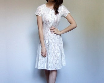 See Through Lace Dress Vintage 90s Ivory White Sheer Lace Up Dress - Extra Small XXS  to XS