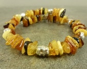 Baltic Amber and Silver Skull Memory Wire Bracelet