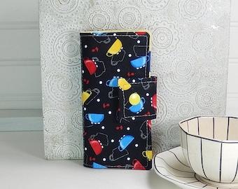 Large tea wallet - 8 pockets - black cups print - fabric tea case - travel tea bag case