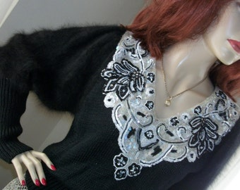 Vintage Beaded Sequined Angora Fur Sleeved Thick Sweater Victorian Sleeves Size S/M Unique