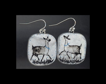 Dairy Goat Jewelry: Alpine Cou Clairs to Trot Earrings. Original Ink Drawing on Polymer Clay. Blue, Silver Grey, Black 4143