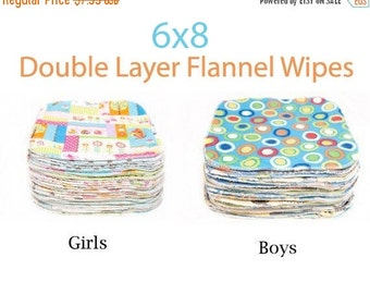 Sale - Clearance 6x8 Sweet Bobbins Cloth Wipes Starter Set of 12 wipes -  Double Layer Flannel  - 6x8