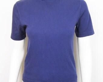 VTG 90s Blue Faded Cotton Blend Turtleneck Top Shirt Short Sleeve Grunge