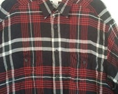 SALE Liz Claiborne menswear dress shirt american gigolo punk button down shirt L XL new wave 44 46  grunge plaid tartan boho