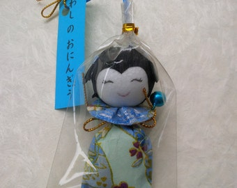 Handmade origami doll japanese washi paper blue - gift for her