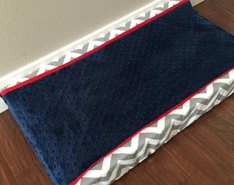 Baby changing pad cover nursery navy grey chevron red