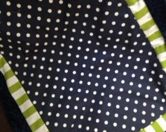 Navy lime blanket Baby quilt minky dot boy
