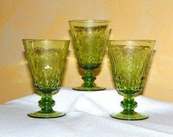 Fleur de Lys Green Hand Blown Glasses, Set of 3, MINT