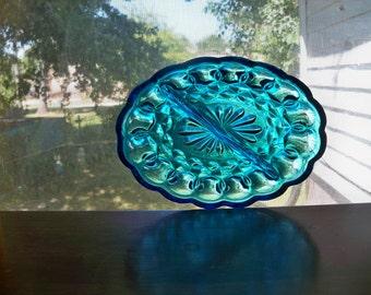 beautiful royal blue glass dish