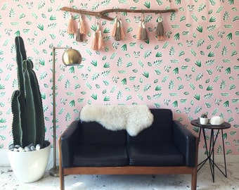 Removable Wallpaper // Plants on Pink // Perfect for renters // Fully Removable