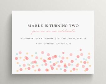 confetti birthday invitation set // baby shower invitation // bridal shower // thank you note // confetti party // modern // simple // party