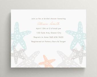 starfish bridal shower invitation // birthday invitation // wedding shower // engagement party // beach party // ocean // coastal // note