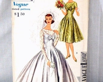 Vintage 1959 Vogue Wedding Dress Pattern Special Design #4962 Size 14 UNCUT