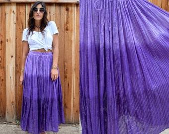 Vintage 80s INDIAN Cotton Gauzy OMBRE Gypsy Festival Maxi Skirt