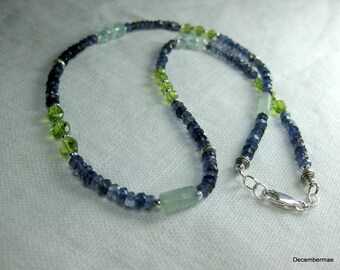 Iolite Rondelle Necklace with Aquamarine and Peridot in Sterling Silver