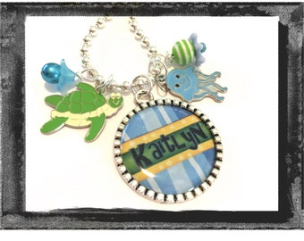 Personalized Necklace for Children - TURTLE AND FRIENDS  Necklace Beach Vacation Necklace