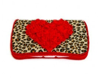 Travel Diaper Wipes Case With Chiffon Heart Design