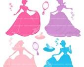 ON SALE princess clip art, girl clip art, Silhouette clip art, princess , blue, pink , purple , INSTANT Download