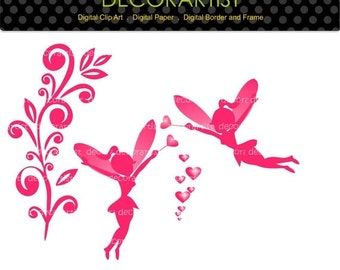 ON SALE fairy clip art, fairy pink clip art , girl ,Digital clip art valentines day clip art,Heart,love scrapbooking,card making,instant