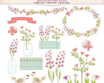 ON SALE Flowers clipart, Botanical clipart,country garden clipart, pink flowers,butterfly,flower clip art, INSTANT Download