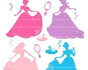 ON SALE princess clipart, girl clipart, Silhouette clipart, princess , blue, pink , purple , INSTANT Download